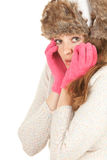 Scared young winter woman Stock Photo