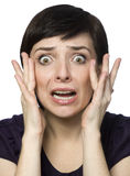 Scared young woman. Royalty Free Stock Photos