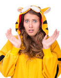 Scared young woman dressed as a tiger Royalty Free Stock Images