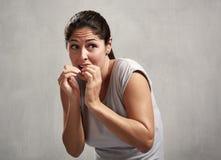 Scared afraid woman Stock Image