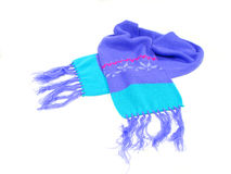 Scarf. Child's colorful winter scarf on a white background Stock Photography