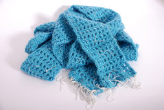 Scarf. Blue ladies scarf for cold winter days Royalty Free Stock Photography