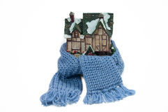 Scarf around a miniature half-timbered house Royalty Free Stock Photos
