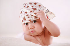 Scarf baby look at camera Royalty Free Stock Photography