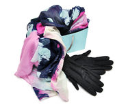 Scarf with black gloves Royalty Free Stock Photography