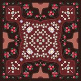 Scarf with bright floral ornament in russian style. Carpet, mat. Cover Royalty Free Stock Photos
