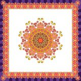 Scarf with flower - mandala on white background and bright ornamental border. Royalty Free Stock Photo