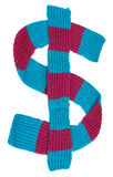 Scarf in the form of a dollar sign. Winter scarf in the form of a dollar sign Royalty Free Stock Image