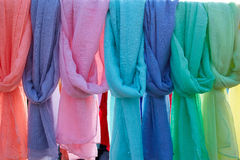 Scarf foulards in a row outdoor Royalty Free Stock Photos
