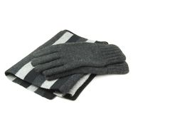 Scarf and Gloves. Black and gray scarf and gloves Royalty Free Stock Photo