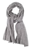 A scarf is grey strung on a knot on a white background Stock Photos