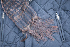 Scarf handmade and black winter jacket Royalty Free Stock Photo