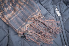 Scarf handmade and black winter jacket Stock Photography