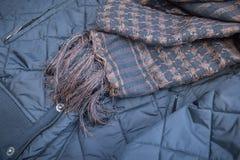 Scarf handmade and black winter jacket Royalty Free Stock Image