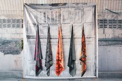 Scarf Hanging Rack for customers to buy. royalty free stock image