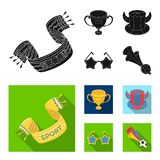 A scarf, a hat with horns and other attributes of the fans.Fans set collection icons in black, flat style vector symbol. Stock illustration Stock Photography