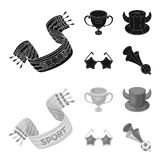 A scarf, a hat with horns and other attributes of the fans.Fans set collection icons in black,monochrom style vector. Symbol stock illustration Stock Images