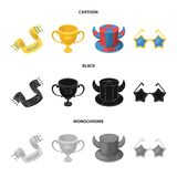A scarf, a hat with horns and other attributes of the fans.Fans set collection icons in cartoon,black,monochrome style. Vector symbol stock illustration Royalty Free Stock Photos