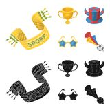 A scarf, a hat with horns and other attributes of the fans.Fans set collection icons in cartoon,black style vector. Symbol stock illustration Stock Image