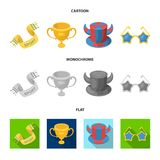 A scarf, a hat with horns and other attributes of the fans.Fans set collection icons in cartoon,flat,monochrome style. Vector symbol stock illustration Royalty Free Stock Images
