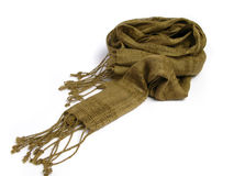 A scarf from India. That is made of thread with stripes on a white background Stock Photo