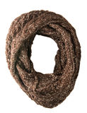 Scarf isolated on white background.Scarf  top view .brown scarf. Speck Stock Photo