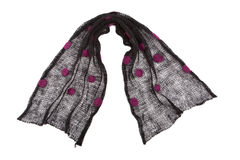 Scarf mande from knitted black dotted mohair fabric Royalty Free Stock Images