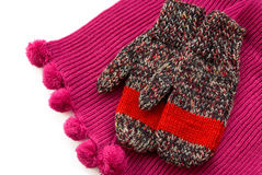 Scarf and mittens. Sesonal outewear scarf and mittens isolated over white Stock Photo