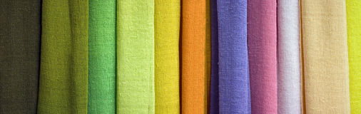 Scarf Panorama. A collection of eleven linen scarves.  Vilnius, Lithuania Stock Images