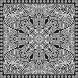 Scarf pattern. Black and white contemporary asian style pattern Royalty Free Stock Image