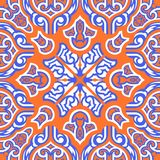 Scarf pattern. Contemporary orange and blue asian floral pattern stock illustration