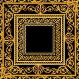 Scarf with a pattern of gold elements Golden baroque on a black and burgundy background royalty free illustration