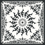 Scarf pattern. Square ornamental pattern with black tribal. can use this pattern in design of bandana, neckerchief, scarf, shawl, and carpet Stock Images