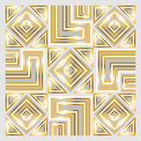 Scarf pattern. Square ornamental geometric overlap golden and white pattern. can use this pattern in design of bandana, neckerchief, scarf, shawl, carpet and Stock Photography