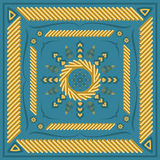 Scarf pattern. Square ornamental pattern with golden strands. can use this pattern in design of bandana, neckerchief, scarf, shawl, and carpet Stock Photos