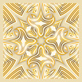 Scarf pattern. Square ornamental overlap golden and cream pattern. can use this pattern in design of bandana, neckerchief, scarf, shawl, carpet and tile Stock Photo