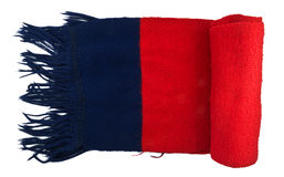 Scarf. Red blue knitted scarf folded isolated on white background Royalty Free Stock Images