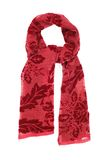 The scarf red velvet with a picture, isolated on a white background Royalty Free Stock Image