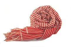 Scarf red and white striped Royalty Free Stock Images
