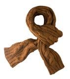 Scarf som isoleras på vit bakgrund Bästa sikt för halsduk bruna avskummar Arkivfoton