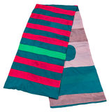 Scarf stitched from green, pink, blue, red strips. Of silk fabrics isolated on white background Stock Photography