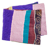 Scarf stitched from pieces of clenched silk fabric Royalty Free Stock Photos