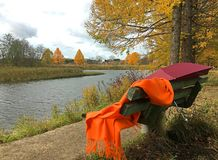 Scarf and umbrella forgotten on bench. In autumn royalty free stock image