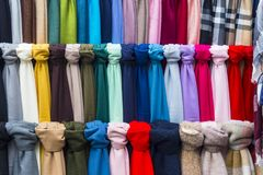 Colored scarfs Royalty Free Stock Photos