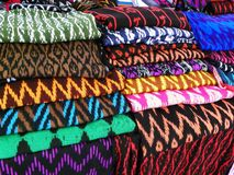 Scarfs or Macanas at the market, traditional handcraft and design for Gualaceo canton, Cuenca, Ecuador royalty free stock photos