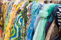 Scarfs on the market Stock Photography