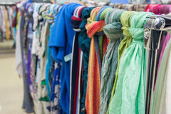 Scarfs on the market Royalty Free Stock Photography