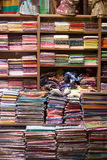 Scarfs on shelves at turkish market Royalty Free Stock Photography