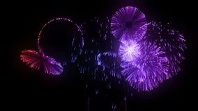 Scariche consecutive dei fuochi d'artificio isolate su fondo nero 3d animazione 3d rendere vicino sulla vista 10 multicolori illustrazione vettoriale