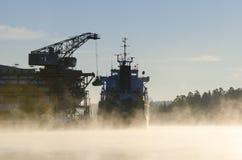 Scarico della mattina all'ingrosso di freddo della nave del cargo Fotografia Stock Libera da Diritti